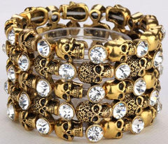 Women Bracelets - Skull Skeleton Bracelet ~  Women Biker Jewelry ~ Antique Gold Silver Plated