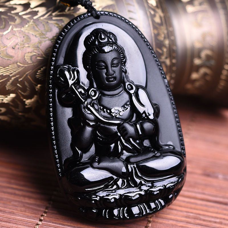 Black obsidian stone necklace fine chinese carving natural black natural black obsidian pendant previous aloadofball Choice Image