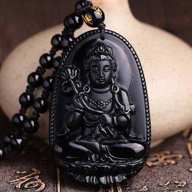 Women Jewelry - Black Obsidian Stone Necklace; Fine Chinese Carving; Natural Black Obsidian Pendant;