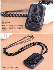 Women Jewelry - Chinese Carving Natural Obsidian Buddha Pendant; Luo Han Men Women Unisex Bead Necklace;