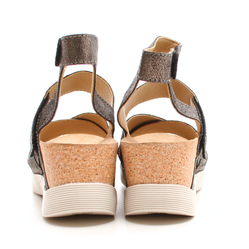 Fly London Wege sandal mørk sølv-FLY London-Hoofers - We love shoes