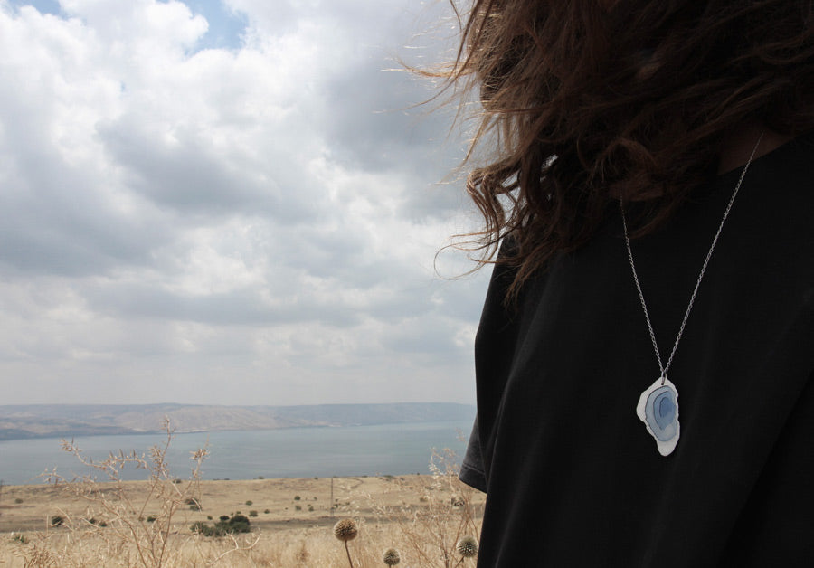 On a windy day, we took the sea of Galilee necklace on a road trip...