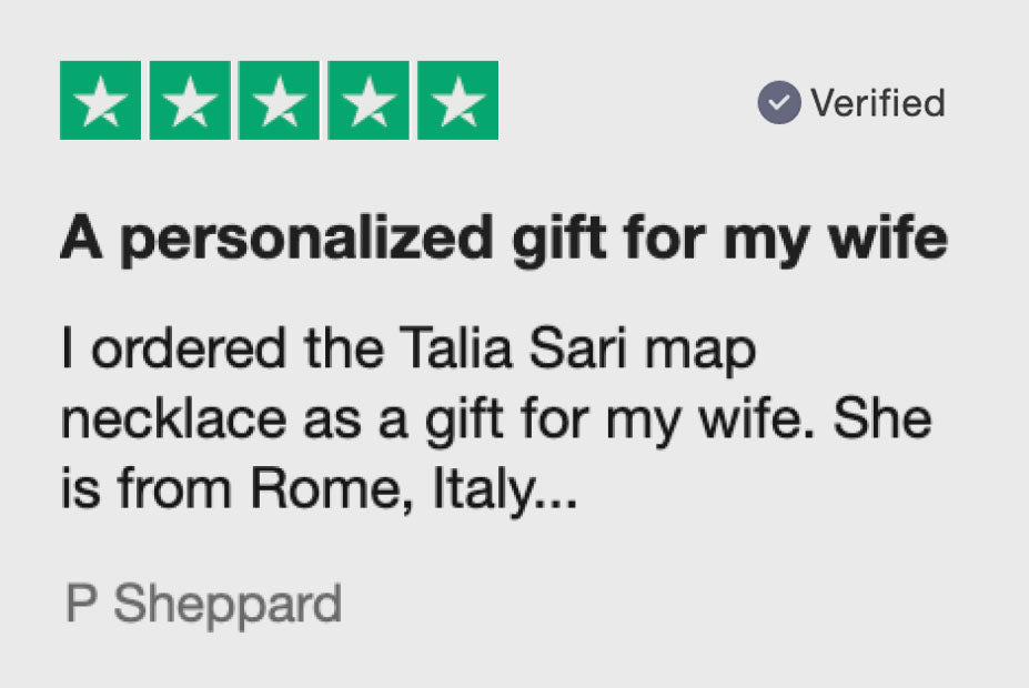 A personalized gift for my wife I ordered the Talia Sari map necklace as a gift for my wife. She is from Rome...
