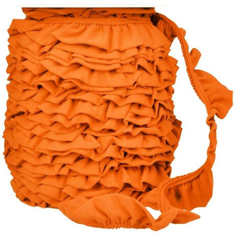 Ruffled Jersey Trim - Orange - 1 m