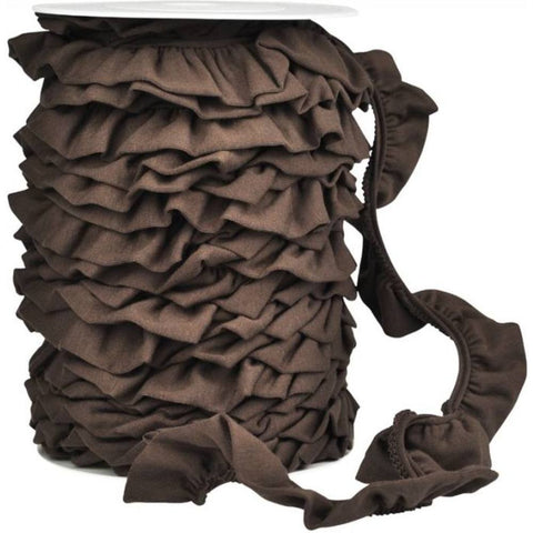 Ruffled Jersey Trim - Chestnut - 1 m