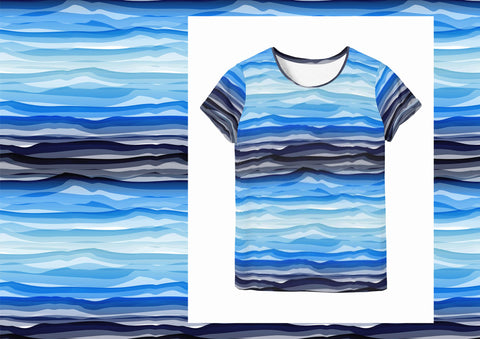 Wavy Stripes  - Blue Navy White Jersey