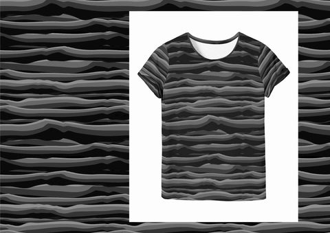 Wavy Stripes  - Black Grey Jersey