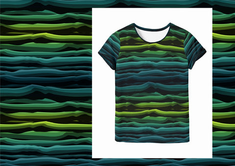 Wavy Stripes  - Green Mint Black Jersey