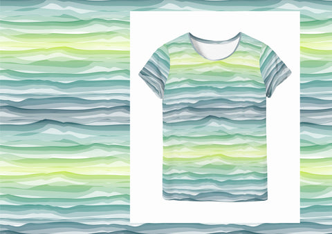 Wavy Stripes  - Green Mint White Jersey