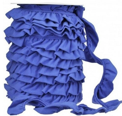 Ruffled Jersey Trim - Royal Blue - 1 m