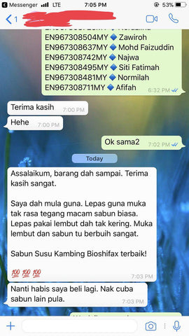 Testimoni Sabun Susu Kambing / Goat Milk Soap - Bioshifax Marketing