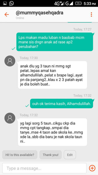 Testimoni Madu Luban / Frankincense Honey - Bioshifax