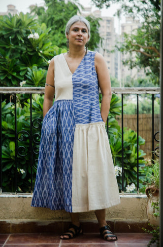 Ikkat Dress - Ivory and blue