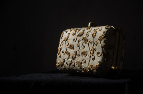 Mini Box Clutch Purse - Gold Paisley