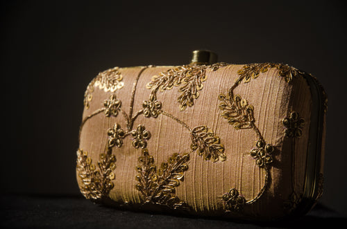 Mini Box Clutch Purse - Peach with Gold Leaves Small