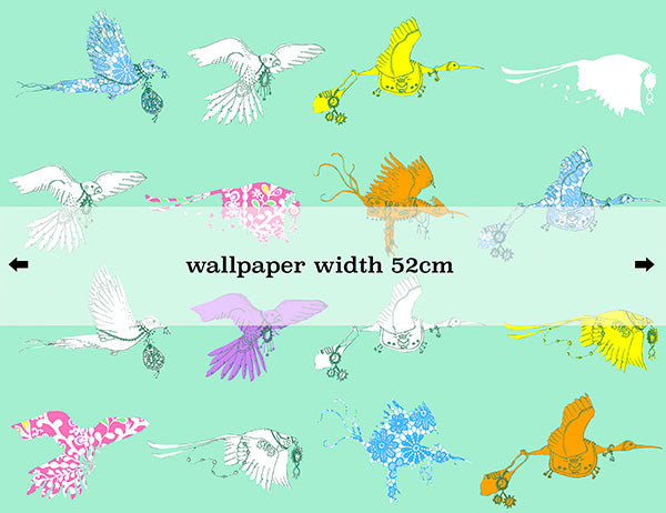 'Flying Journey' Non Woven Wallpaper・Green