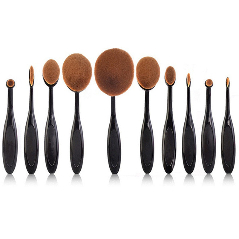 10 pc Oval Make Up Brushes - Bounce Essential Hair