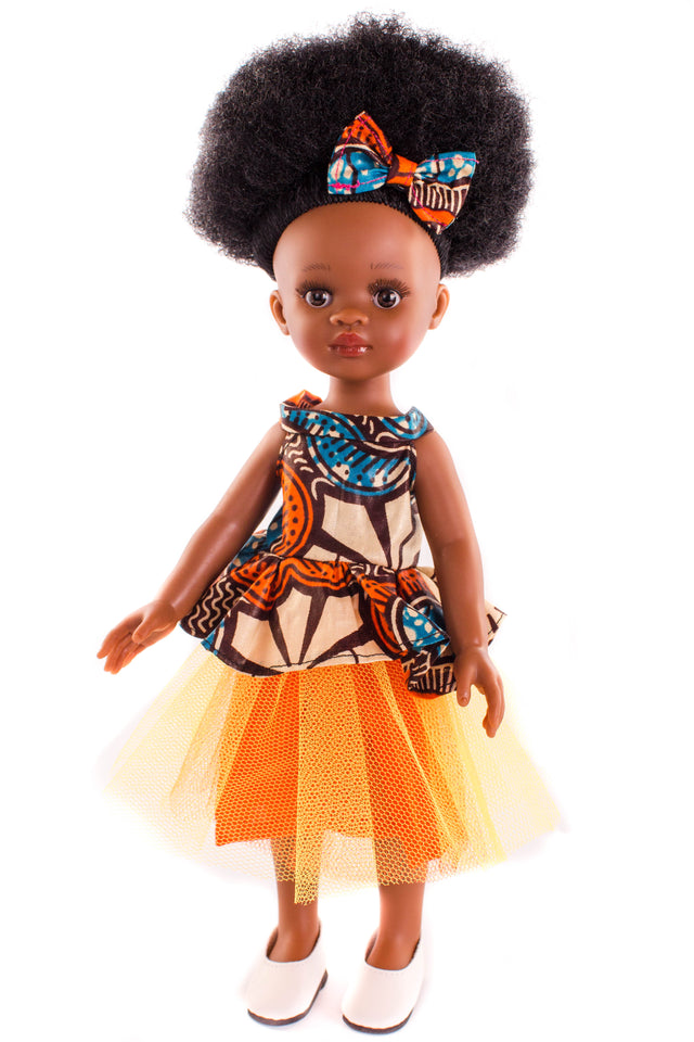 Bontle Princess Doll (28cms) - Dressed in Orange - Bounce Essential Hair