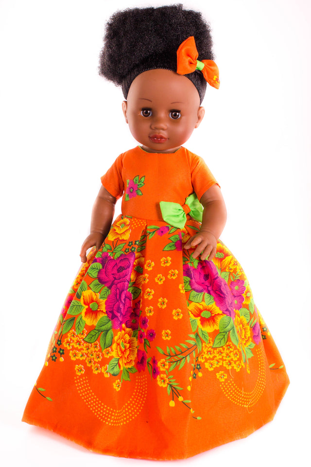 Nobuhle Princess Doll (50cms) - Dressed in Orange - Bounce Essential Hair