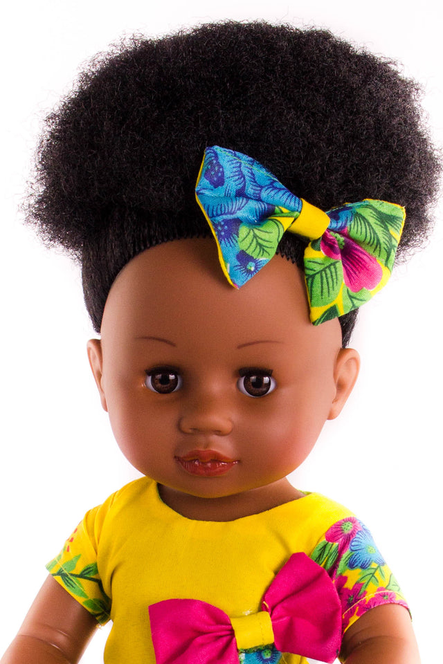 Nobuhle Princess Doll (50cms) - Dressed in Yellow - Bounce Essential Hair