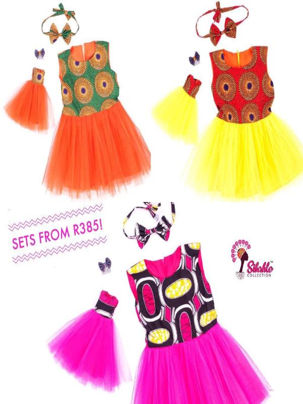 Afro Print Tutu Dresses Set - Child dress and Doll dress Only (No Doll)