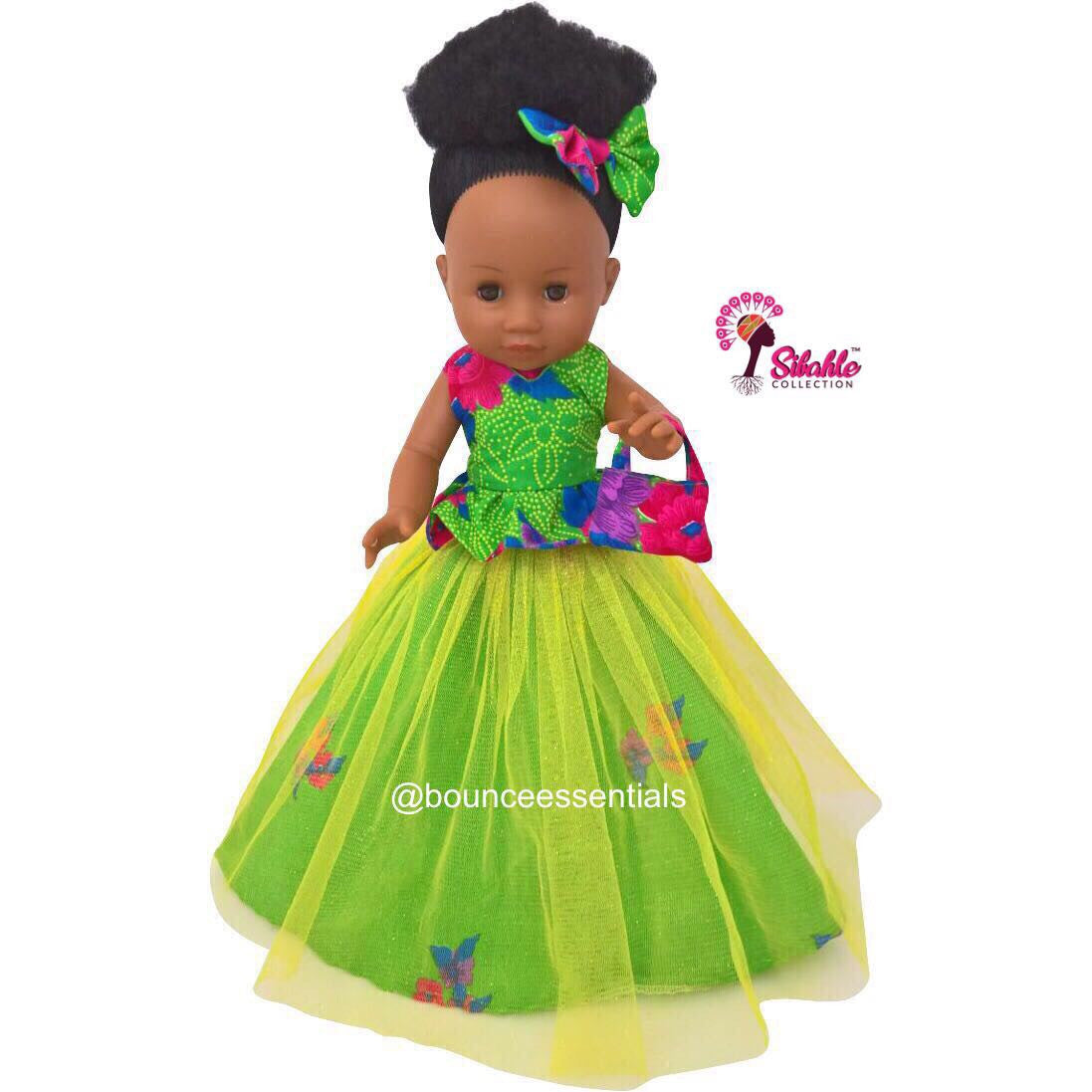 Nobuhle Princess Doll (50cms) - Dressed in Green - Bounce Essential Hair