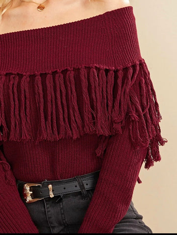 Off Shoulder Tassle Sweater