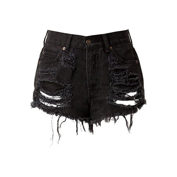 Black high waist ripped shorts