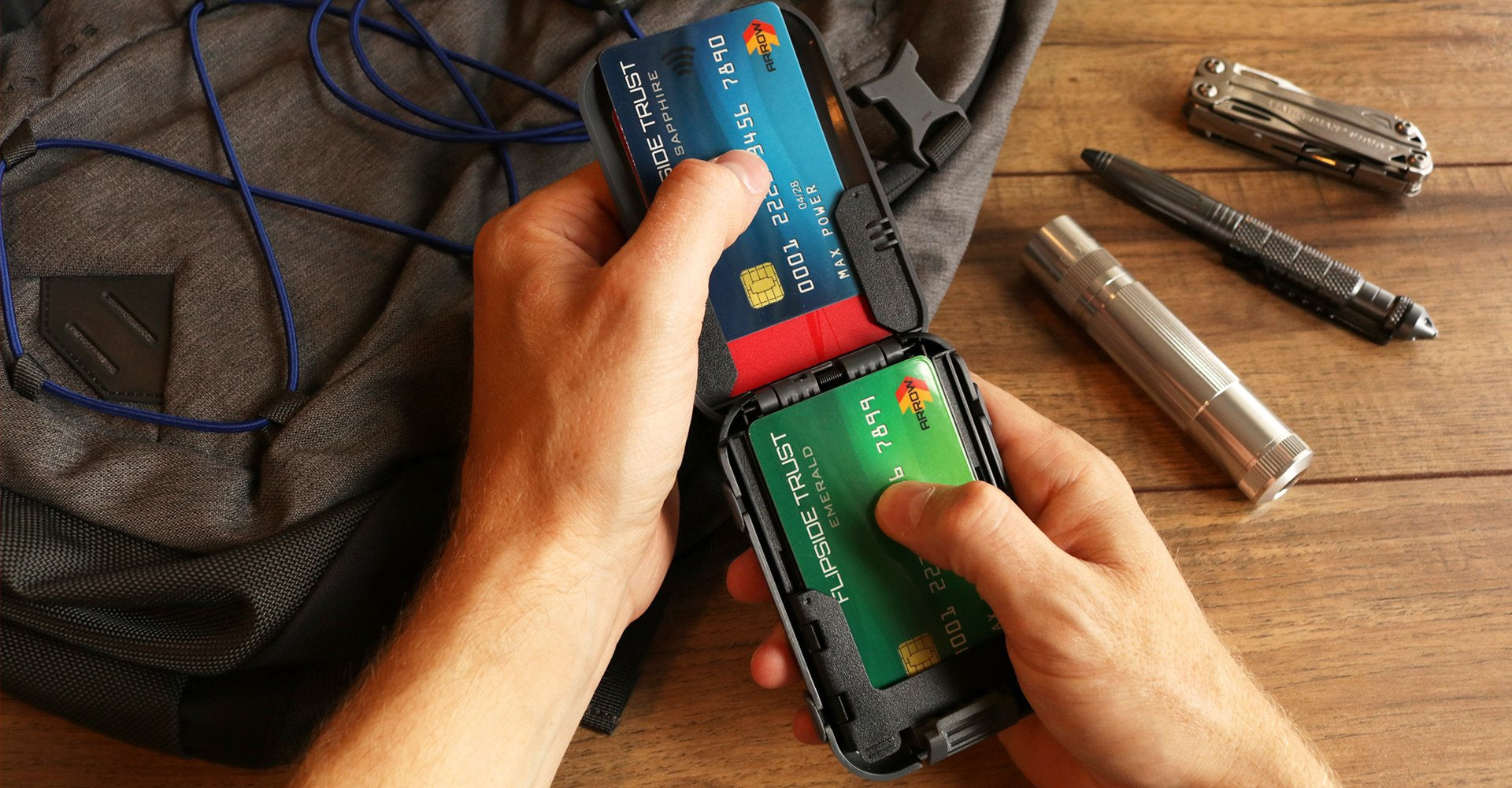 An rfid secure wallet that locks shut and flips itself open