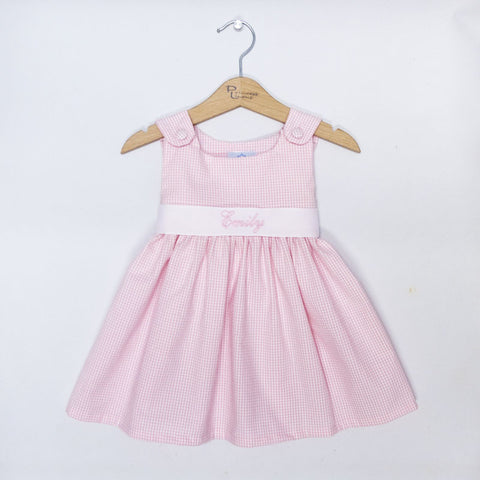 Pink Gingham Sash Dress