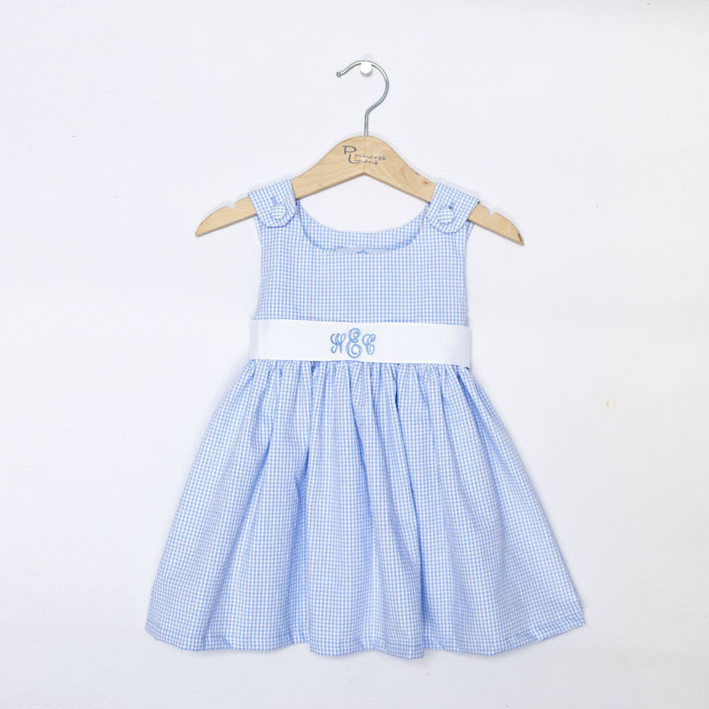 Blue Gingham Sash Dress