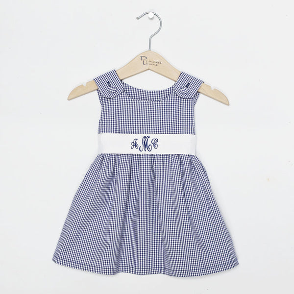 Navy Gingham Sash Dress