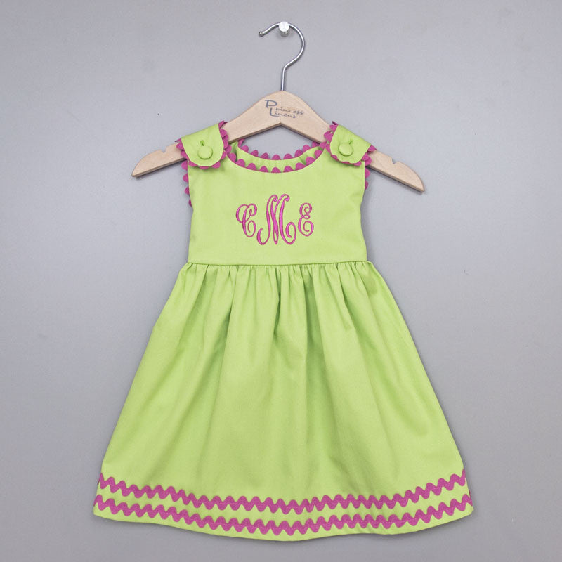 Pique Dress Green/Hot Pink