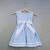 Polka Dot Pique Sash Dress-Light Blue