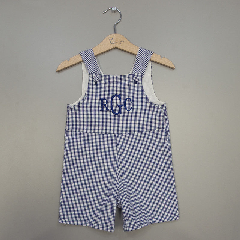 Navy Seersucker Shortall