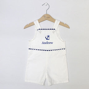 Pique Anchor Shortall-White/Navy