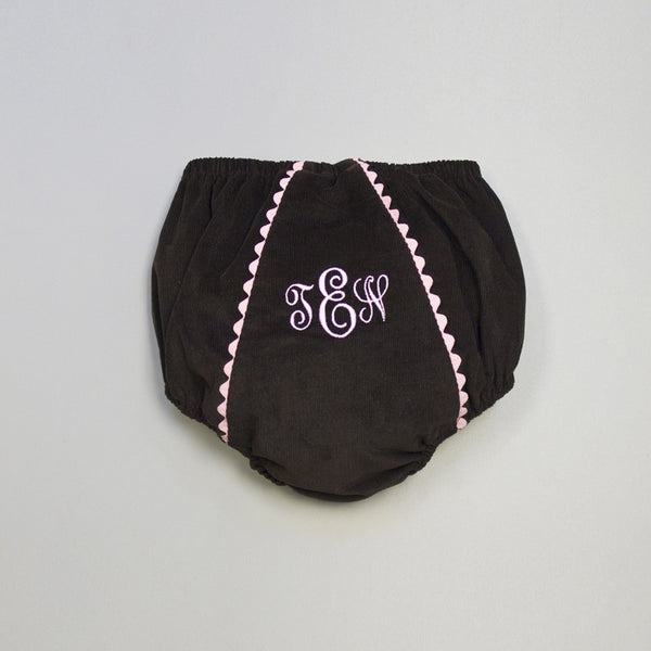 Corduroy Diaper Cover - Brown/Pink
