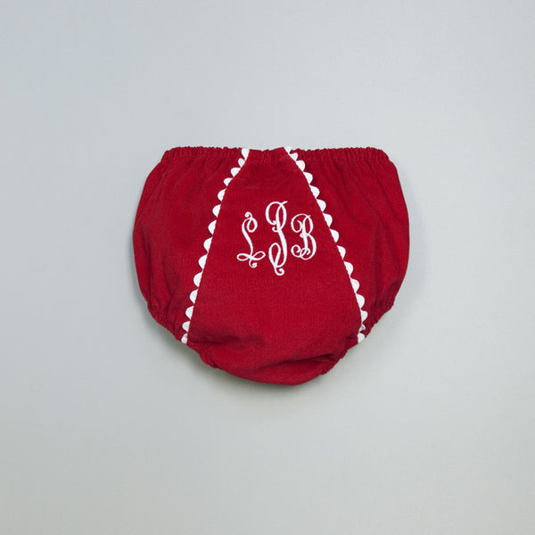 Courduroy Diaper Cover - Red/White