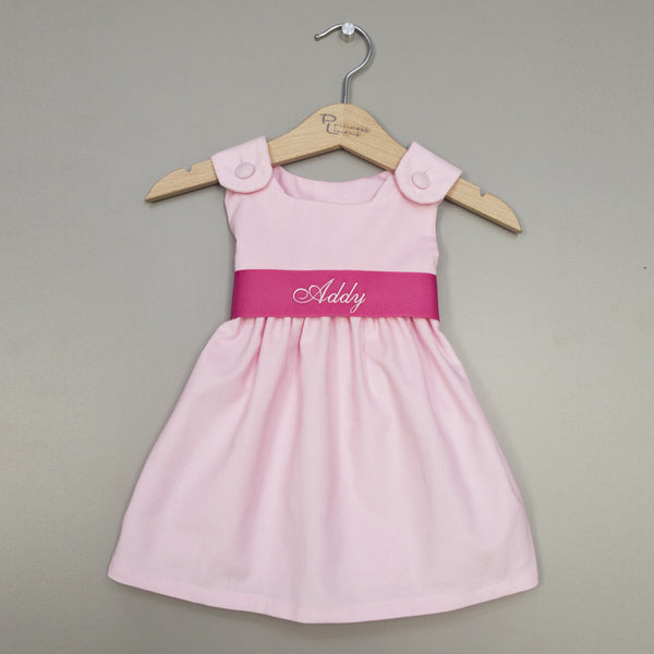 Corduroy Sash Dress-Pink/Hot Pink