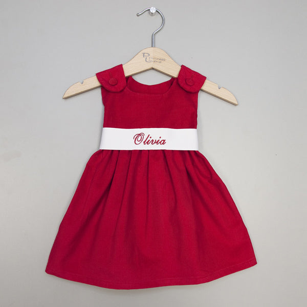 Corduroy Sash Dress-Red/White