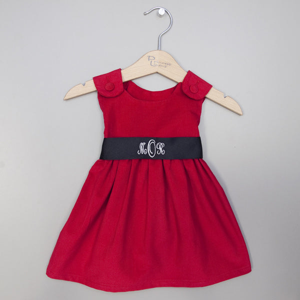 Corduroy Sash Dress-Red/Black