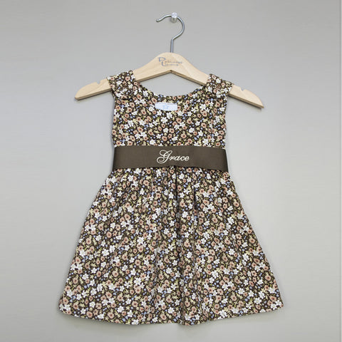 Brown Floral Sash Dress