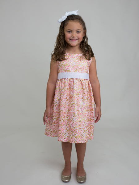 Peach Shimmer Sash Dress