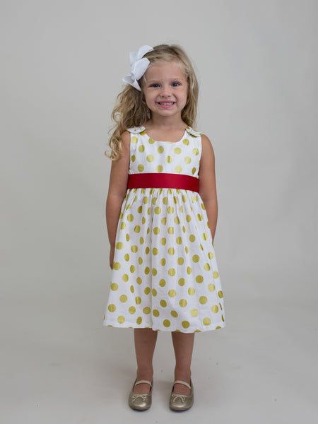 Gold Dot Dress with Red Sash