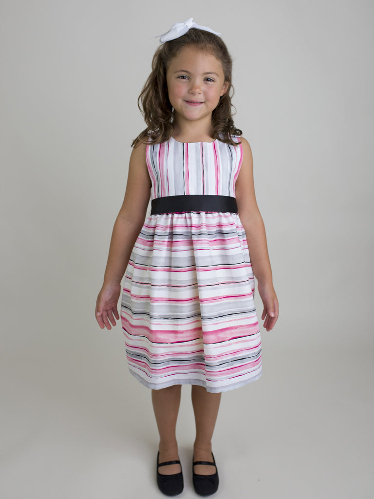 Watercolor Stripe Sash Dress