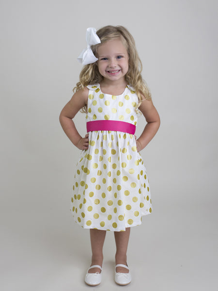 Gold Dot Dress with Hot Pink Sash