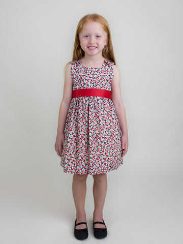 Flowers Dress with Red Sash