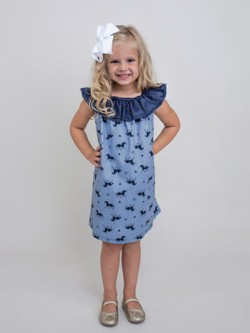 Giddy Up Frill Yoke Dress