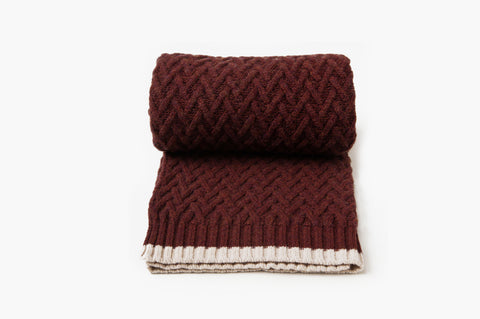 Chevron Wool Blanket • Maroon