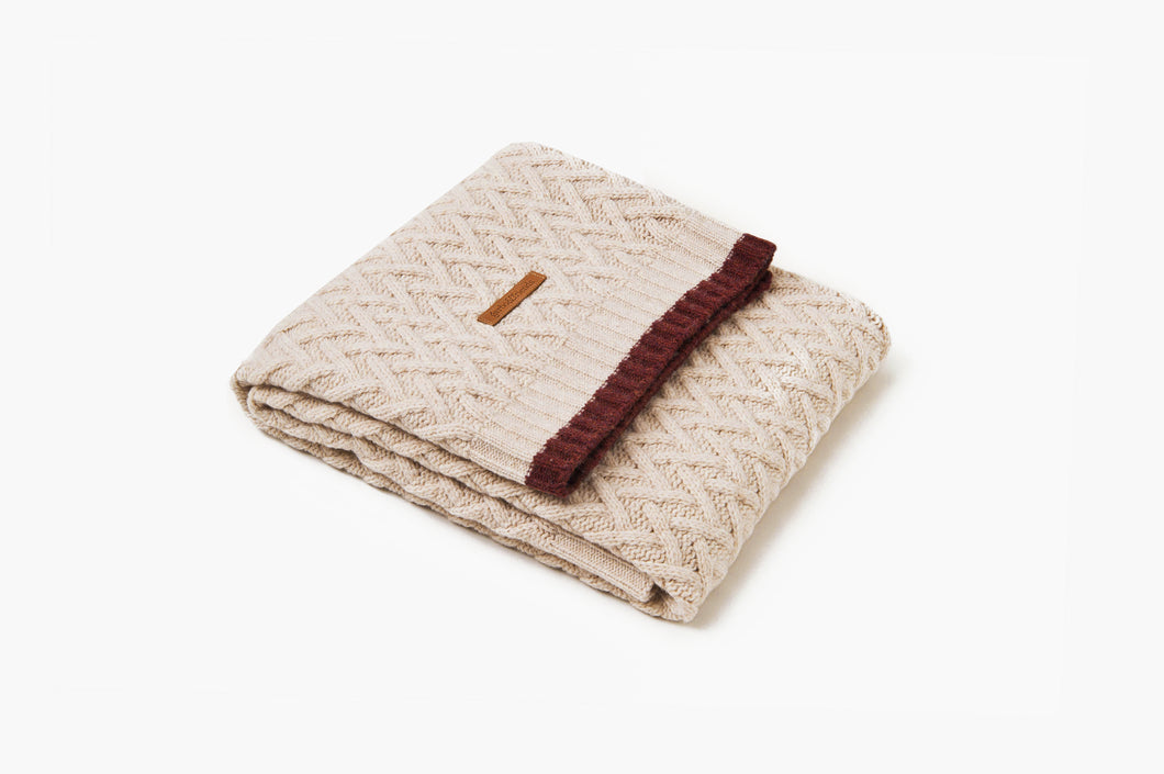 Chevron Wool Blanket • Oat